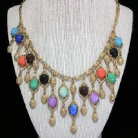 Coro Lucite Scarab Bib Necklace Gold Tone Cascading Dangling Scarabs Mid Century Egyptian Revival Jewelry Cleopatra 318