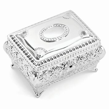 Silver-plated Floral Jewelry Box - Engravable Personalized Gift Item