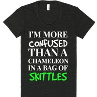 More confused than a chameleon in a bag of skittles black