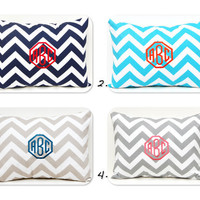 Monogrammed Pillow Chevron Pillow Cover Monogram with Insert Embroidered Monogram 12 x 16 Personalized Gift Housewarming Gift Baby Wedding