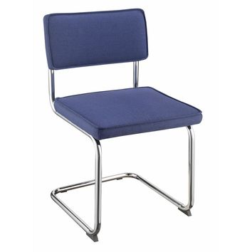 Cantilevered Contemporary Dining Chair, Blue And Silver, Set of 4
