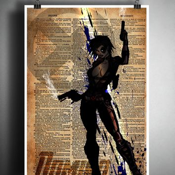 Domino superhero art, deadpool art, female superhero, splatter art on dictionary page