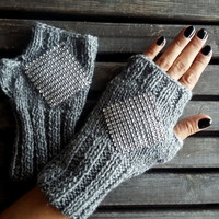 Fingerless Gloves,Handmade,Knitted Glove,Glittering Gloves,Women Gloves,Gray Gloves,Crochet Gloves,Winter Gloves,Christmas Gifts,Gift Ideas