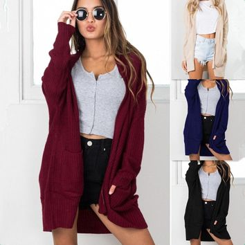 Solid Color Pockets Loose Simple Style Long Cocoon Cardigan