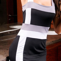 [FREE SHIPPING] Irregular Stripe Dress