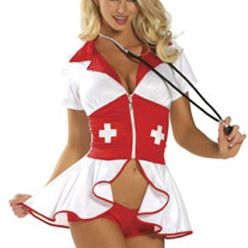 Atomic Red and White Naughty Nurse Costume