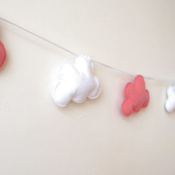 Cloud Garland, Pink and White Clouds, Cloud Banner, Cloud Bunting, nursery decor, photo prop, baby shower gift, new baby, baby girl