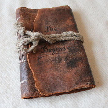 Medieval look personalized leather journal blank book by crearting