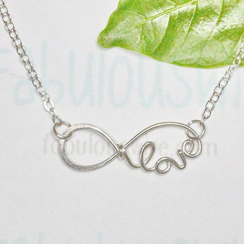 Infinity Love Word  Necklace, Handmade Sterling Silver Wire