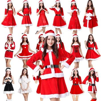 Christmas dress ladies dress cute winter sexy dance cos adult dress costumes winter clothing senior hat