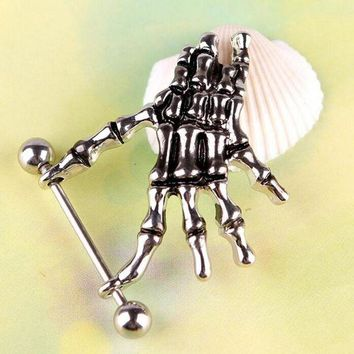ac DCCKO2Q 1Pc Belly Button Rings Punk Skeleton Skull Hand Shield Bar Navel For Women Jewelry Belly Body Piercing