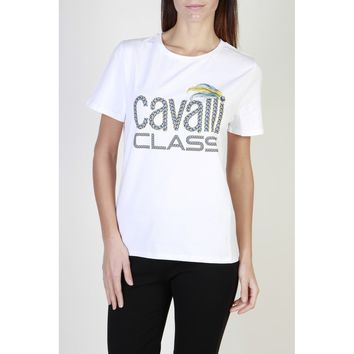 Cavalli Class White Crew Neck Short Sleeve T Shirt