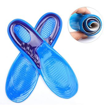 2016 1 Pair Large Size Orthotic Arch Support Massaging Silicone Anti-Slip Gel Soft Sport Shoe Insole Pad For Man Women