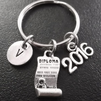 Graduation diploma, 2016 graduate charm keyring, keychain, bag charm, monogram personalized custom gifts under 15 choose No.833
