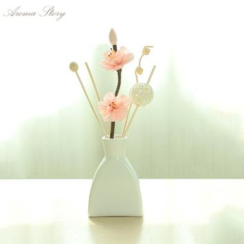 11 Scents Ceramic Reed Diffuser Refill with Dried Flower and Insence Sticks Voilet,Jasmine,Lavender,Ocean,Forest,Lily,Tulip,etc.