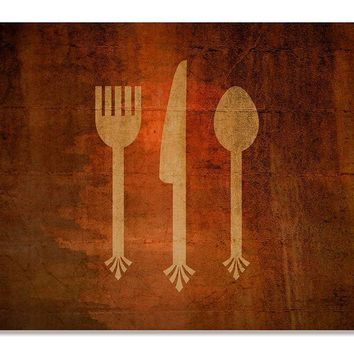 Fork Knife & Spoon Cutlery Print Wall Art