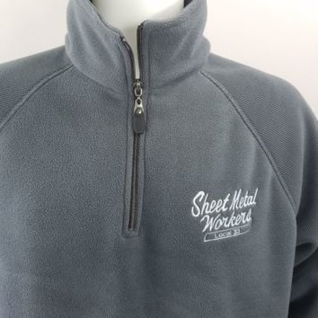 Sheet Metal Workers Pullover Fleece Jacket Mens Sz L Gray AKWA Made In USA VTG