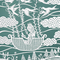 "Original Papercut Illustration - Flying with the Birds - 8x10"" Fine Art Print - Aqua Blue and White"