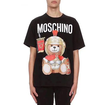 MOSCHINO Summer Popular Women Men Cartoon Cartoon Armor Bear Round Collar T-Shirt Top Black