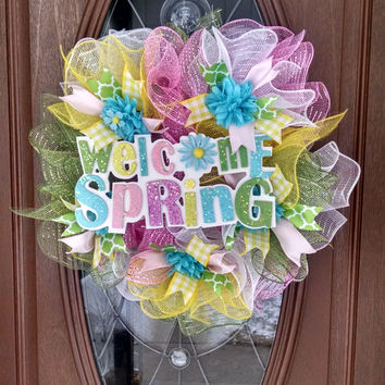 "Spring Deco Mesh Wreath, Pastel Spring Wreath, Ruffle Deco Mesh, Pink Yellow Green Blue, Spring Sign, Flowers, 21"" Indoor/Outdoor Wreath"