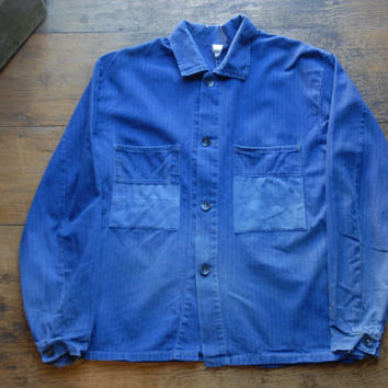 "Vintage Sanforized Faded French Blue Factory Workers Chore Jacket 42"" EU 52  Workwear Distressed Cotton Herringbone"