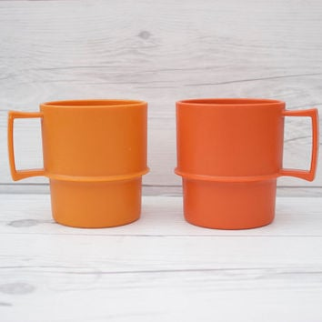 Pair of 2 Vintage Orange Tupperware Plastic Coffee Drinking Mug Cups | Made in the USA