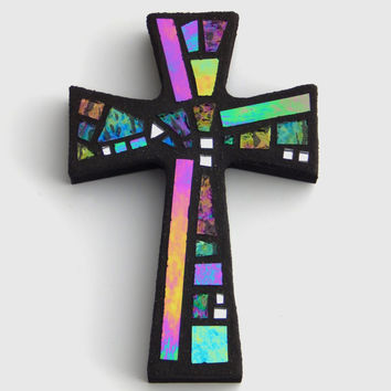 "Mosaic Wall Cross, Small, Black+Gray with Iridescent+Textured Glass+Silver Mirror,  Handmade Stained Glass Mosaic Cross Wall Decor, 6"" x 4"""