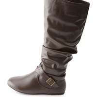 Brown Belted Slouchy Flat Knee-High Boots by Charlotte Russe