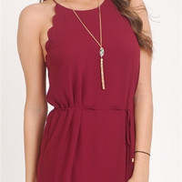 Scalloped High Neck Crepe Dress