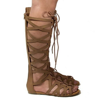Ranger Tan Nubuck Knee High Open Toe Gladiator Cut Out Lace Up Flat Trendy Sandals