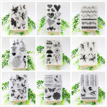 Vintage Flowers Angels Hearts Transparent Clear Silicone Stamp Seal for DIY scrapbooking photo album Decorative stamp sheet