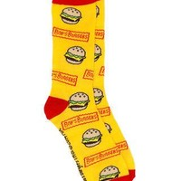Bob's Burgers Show Logo & Burger Official Licensed Adult Socks - Yellow/Red