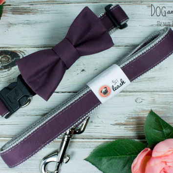 Plum Dog Collar with Removable Bow Tie