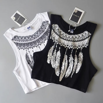 Fashion Casual Retro Feather Print Sleeveless Short Vest Crop Tops