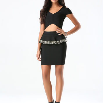 bebe Womens Embellished Peplum Skirt Black