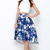 Sumptuous Someone Ivory and Royal Blue Print High-Low Midi Skirt