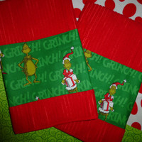 Dr. Seuss The GRINCH - BOUTiQUE HAND TOWEL SeT CUSToM  Designs by Sugarbear - Beautiful  BRiGHT ReD Fabric