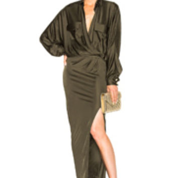Alexandre Vauthier Shiny Jersey Long Sleeve Maxi Dress in Khaki | FWRD