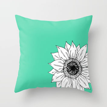 Green With Sunflower Throw Pillow by JustV