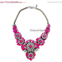Merry Christmas Shourouk inspired Apolonia Hot Pink Flower Neon Jewelry Bubble Necklace, Bib Chunky Colorful Drop Stone Necklace(CN0090-Hot