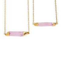 New Fashion Charm Jewelry Transparent Pink Pendant Gold Chain Crystal Women Necklace Accessories Free Shipping