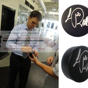 Luc Robitaille Autographed Ice Hockey Puck, Los Angeles Kings, Detroit Red Wings, Proof Photo