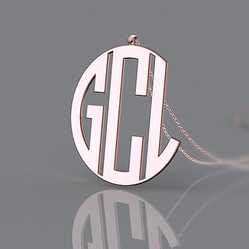 Mother's gift-- rose gold plated 1.25 inch necklace with 3 initial monogram necklace jewelry