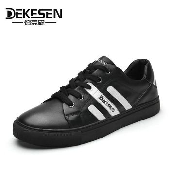 DEKESEN New 2017 Mens Casual Shoes 100% Genuine leather Casual shoes for men Sheepskin Sneakers Spring Autumn Hip-hop mens shoes