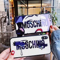Gucci Personality Red Lip Tears Girl Print iPhone 6 plus iPhone X Personality Blue-Ray Glass Soft Shell Protective iPhone Phone Case