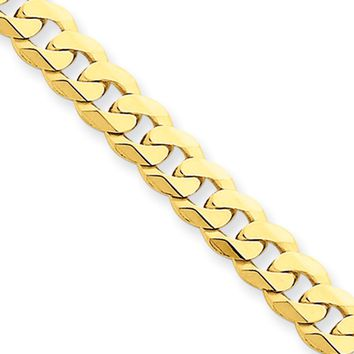 Mens 5.75mm 14k Yellow Gold Solid Beveled Curb Chain Bracelet, 8 Inch