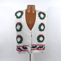 Ugly Christmas Sweater Vintage Party Cardigan Vest  Tacky Holiday Wreaths size