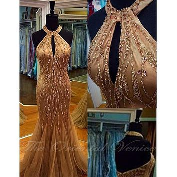 Sparkly Heavy Beads Crystal Champagne Prom Dresses 2017 Sexy Halter Neck Mermaid Party Evening Gowns with Keyhole Pageant Dress