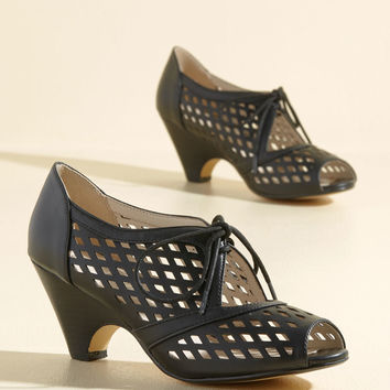 Perf Your While Peep Toe Heel in Noir | Mod Retro Vintage Heels | ModCloth.com