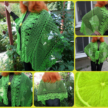 green bright scarf crocheted from cotton lime green scarf-pashmina scarf shawl for women and girls,summer scarf